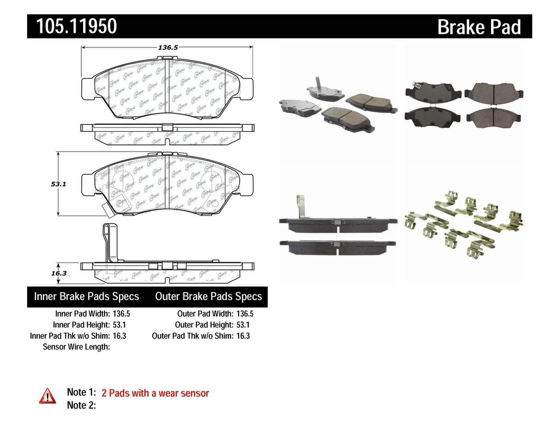 Centric Parts Disc Brake Pad Set Part Number 10511950 1950 Kaiser Wiring Diagram Posi Quiet Ceramic W Shims Hardware