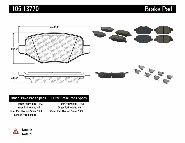 CENTRIC PARTS - Posi-Quiet Ceramic Disc Brake Pad w/Shims & Hardware-Preferred (Rear) - CEC 105.13770