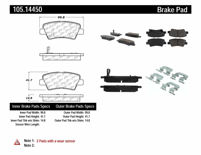 centric parts disc brake pad set part number 105 14450 rh mypartsgarage com Brake System Diagram Brake Components