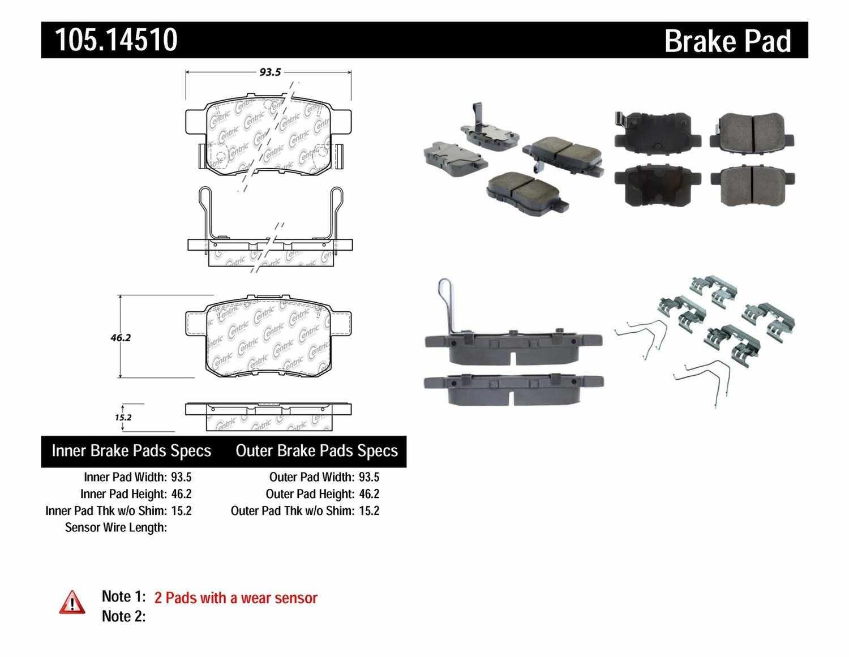 CENTRIC PARTS - Posi-Quiet Ceramic Disc Brake Pad w/Shims & Hardware-Preferred (Rear) - CEC 105.14510