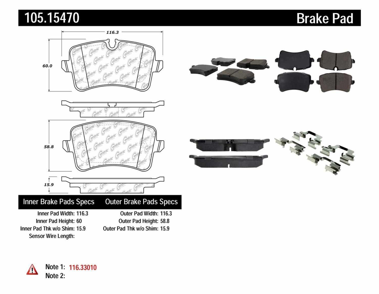 CENTRIC PARTS - Posi-Quiet Ceramic Disc Brake Pad w/Shims & Hardware (Rear) - CEC 105.15470