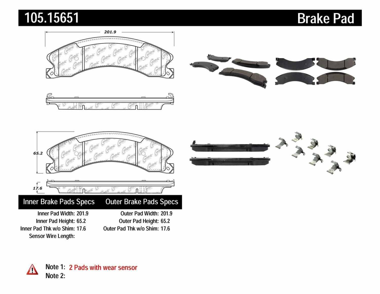CENTRIC PARTS - Posi-Quiet Ceramic Disc Brake Pad w/Shims & Hardware-Preferred (Rear) - CEC 105.15651