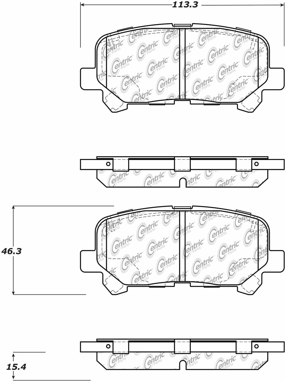 CENTRIC PARTS - Posi-Quiet Ceramic Disc Brake Pad w/Shims & Hardware-Preferred (Rear) - CEC 105.15850