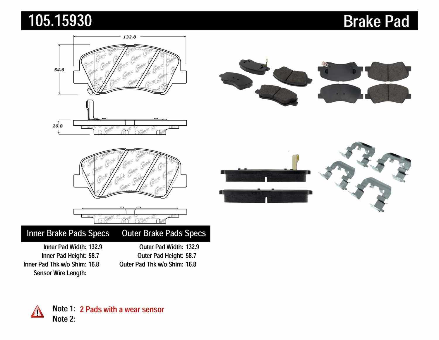 Centric Parts Posi Quiet Ceramic Disc Brake Pad W Shims Hardware Preferred Front Part Number 105 15930 Bma Auto Parts Bmaparts Com