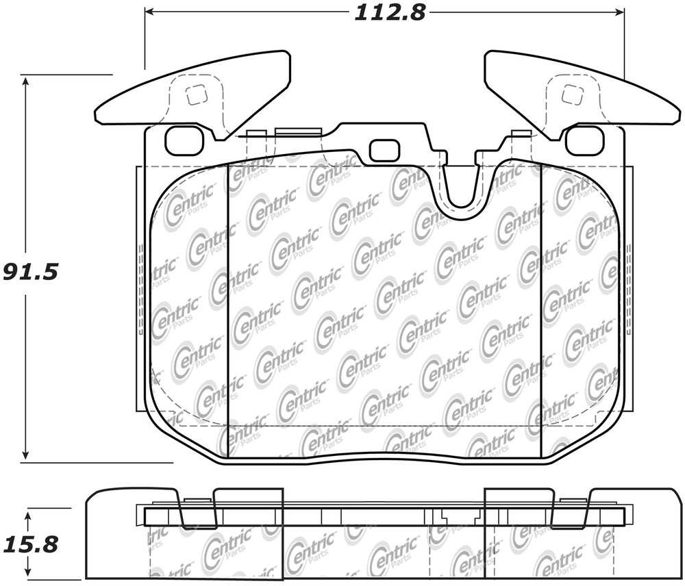 CENTRIC PARTS - Posi-Quiet Ceramic Disc Brake Pad w/Shims & Hardware-Preferred (Front) - CEC 105.16090