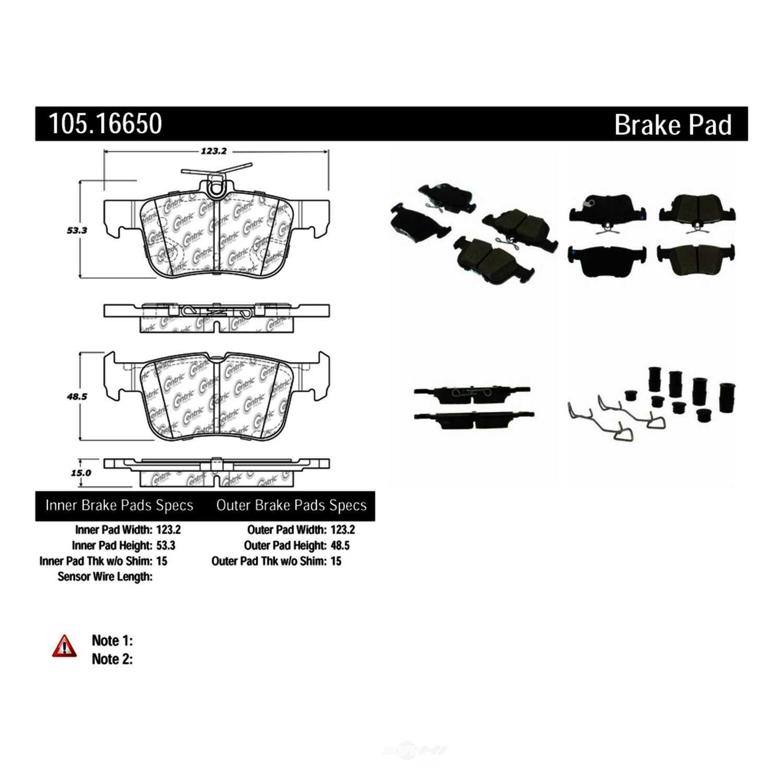 CENTRIC PARTS - Posi-Quiet Ceramic Disc Brake Pad w/Shims & Hardware-Preferred (Rear) - CEC 105.16650