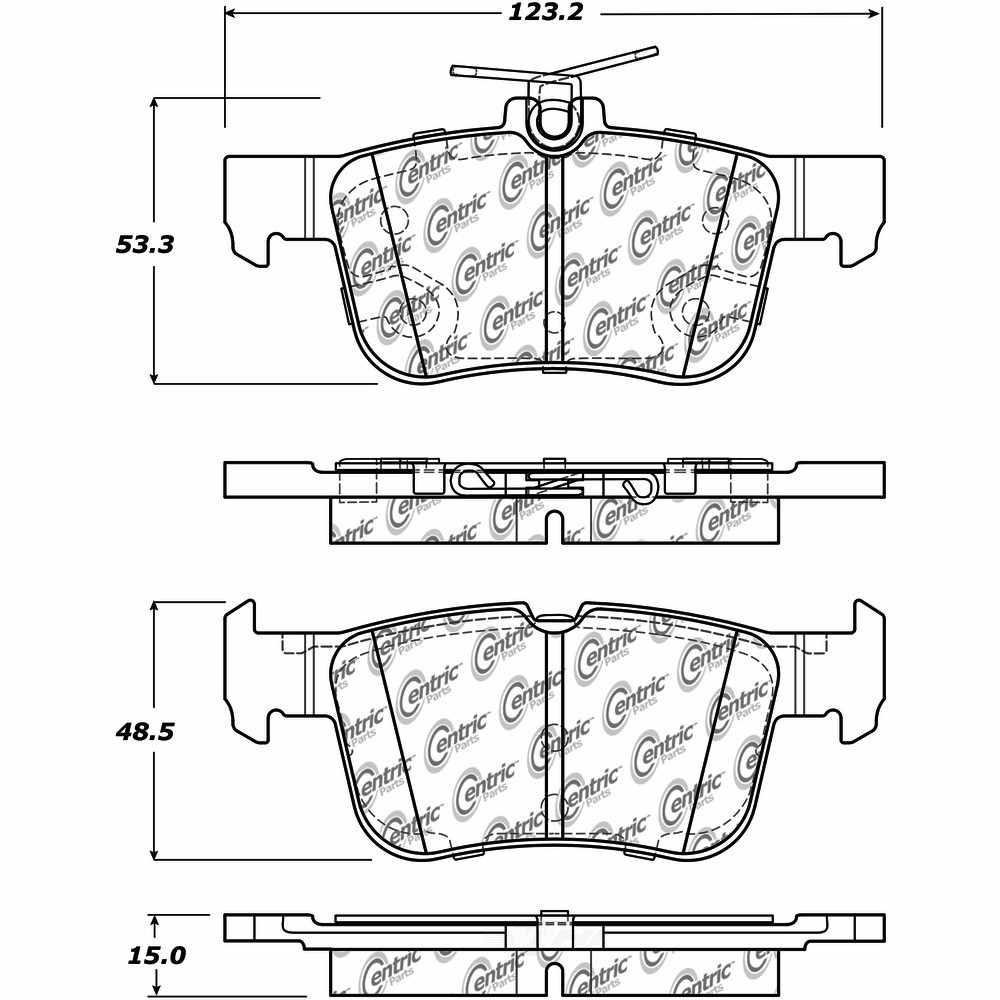 CENTRIC PARTS - Centric Posi-Quiet Ceramic Disc Brake Pad Sets - CEC 105.16650