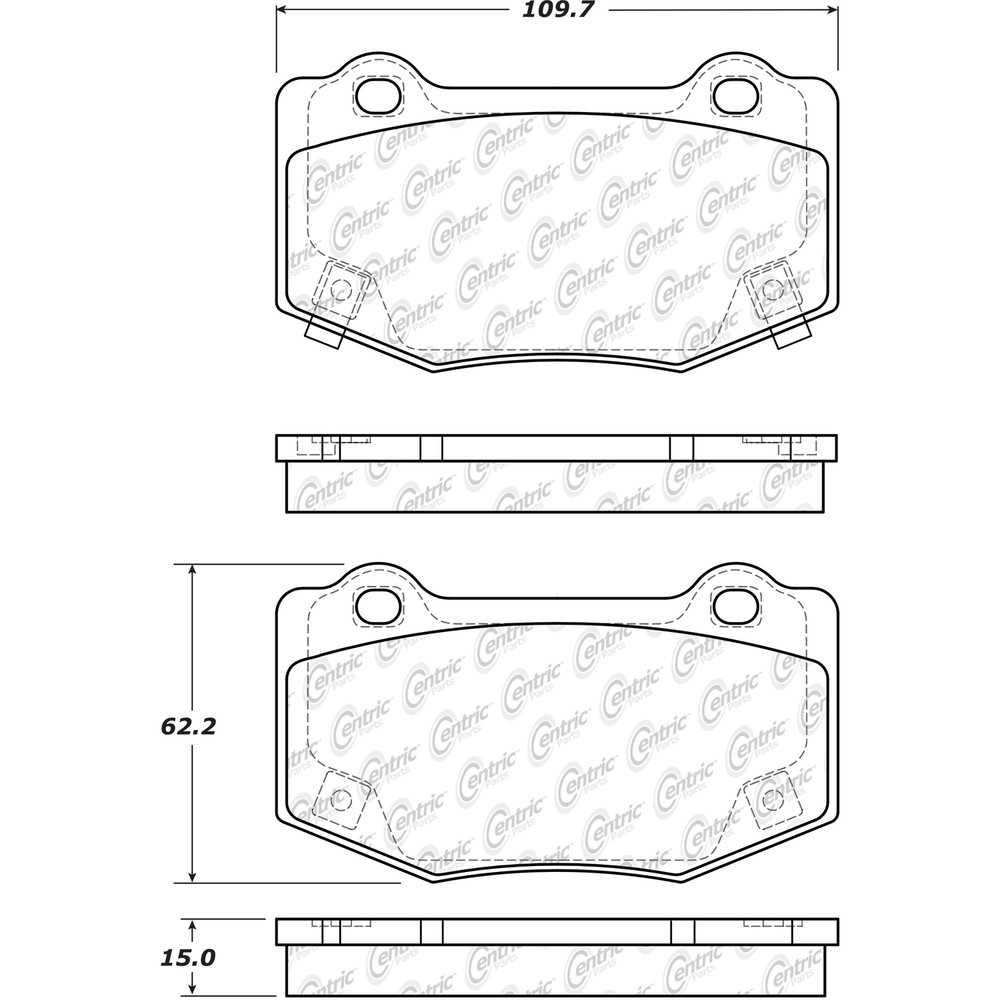 CENTRIC PARTS - Posi-Quiet Ceramic Disc Brake Pad w/Shims & Hardware-Preferred (Rear) - CEC 105.17180