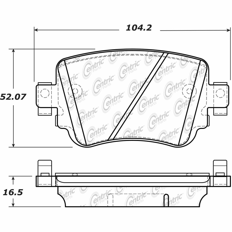 CENTRIC PARTS - Posi-Quiet Ceramic Disc Brake Pad w/Shims-Preferred (Rear) - CEC 105.17790