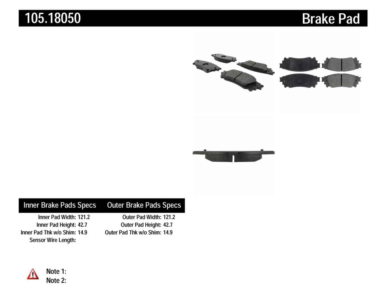 CENTRIC PARTS - Posi-Quiet Ceramic Disc Brake Pad w/Shims-Preferred (Rear) - CEC 105.18050