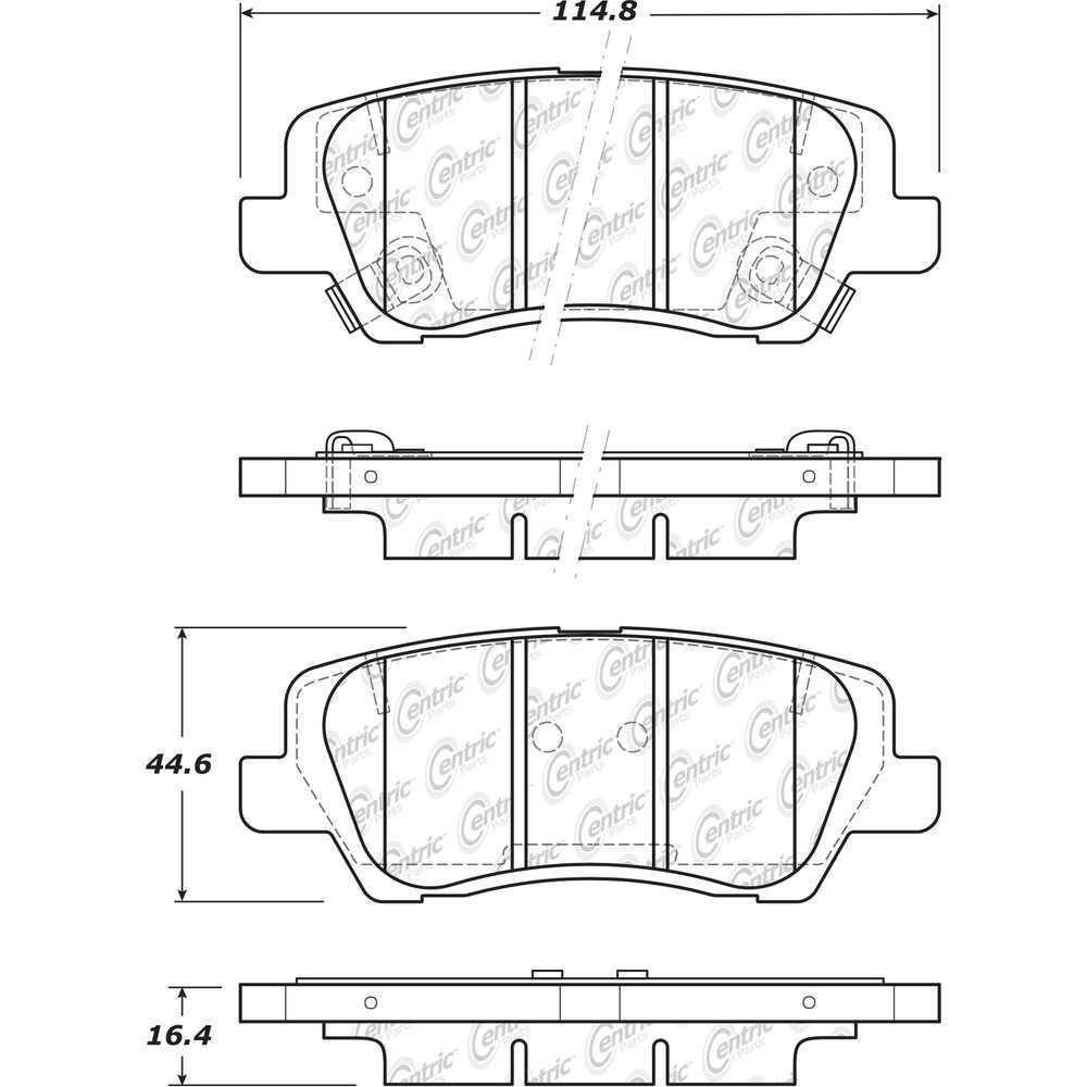 CENTRIC PARTS - Posi-Quiet Ceramic Disc Brake Pad w/Shims & Hardware-Preferred (Rear) - CEC 105.18390