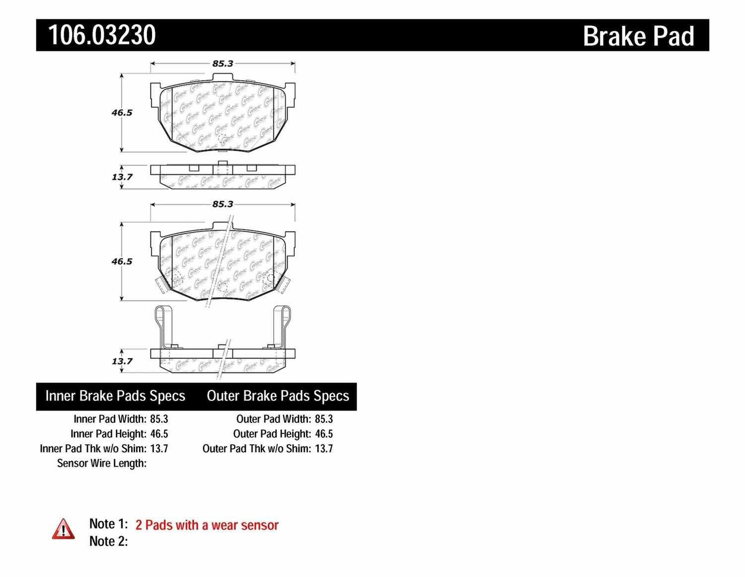 CENTRIC PARTS - Posi-Quiet Extended Wear Disc Brake Pad w/Shims & Hardware (Rear) - CEC 106.03230