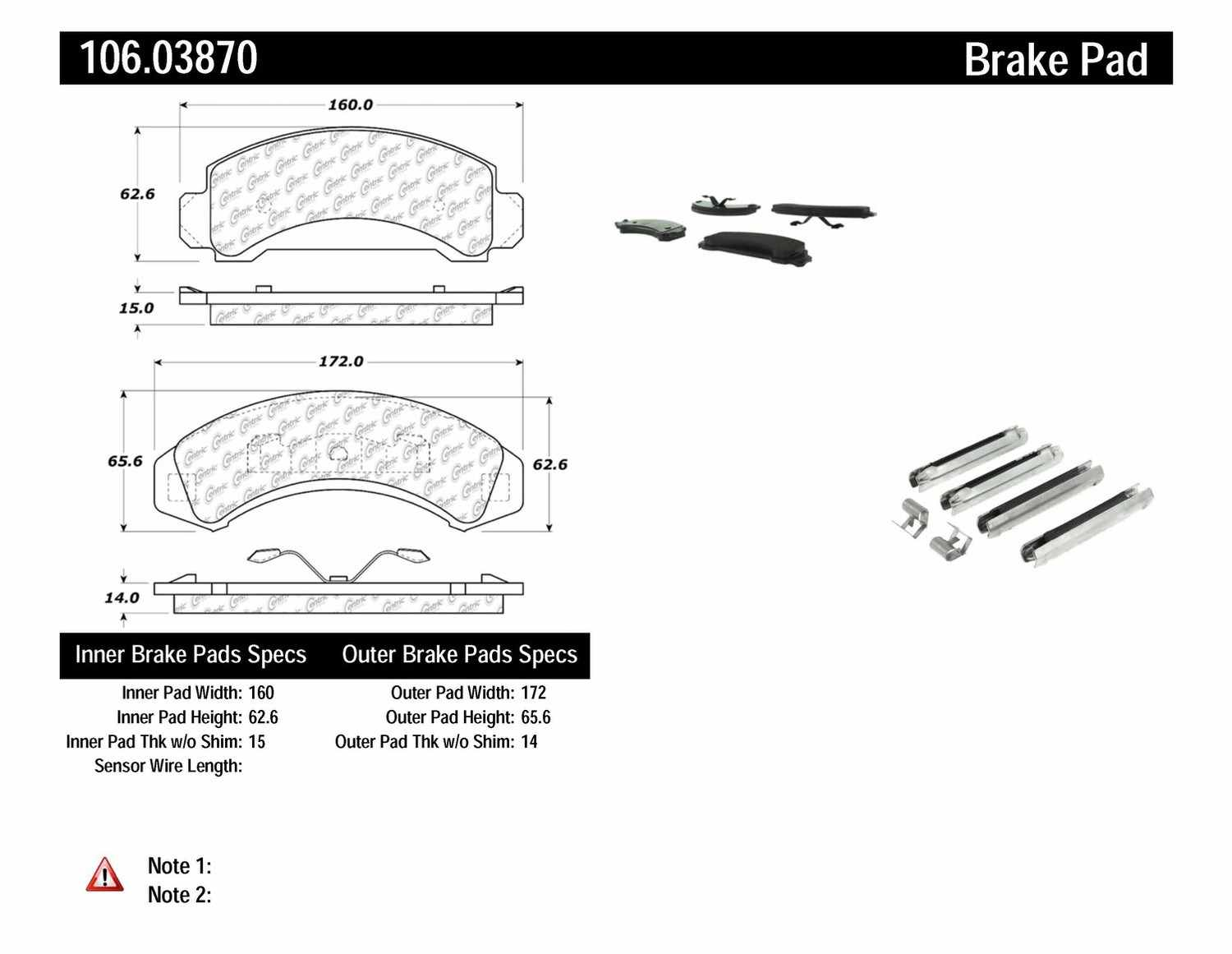 CENTRIC PARTS - Posi-Quiet Extended Wear Disc Brake Pad w/Shims & Hardware (Front) - CEC 106.03870