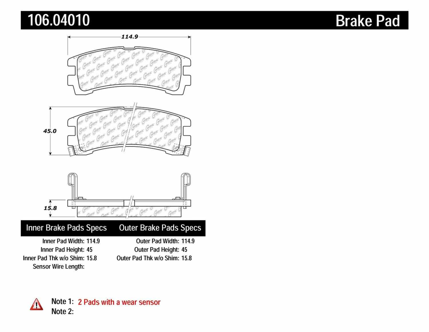 CENTRIC PARTS - Posi-Quiet Extended Wear Disc Brake Pad w/Shims & Hardware-Preferred (Rear) - CEC 106.04010