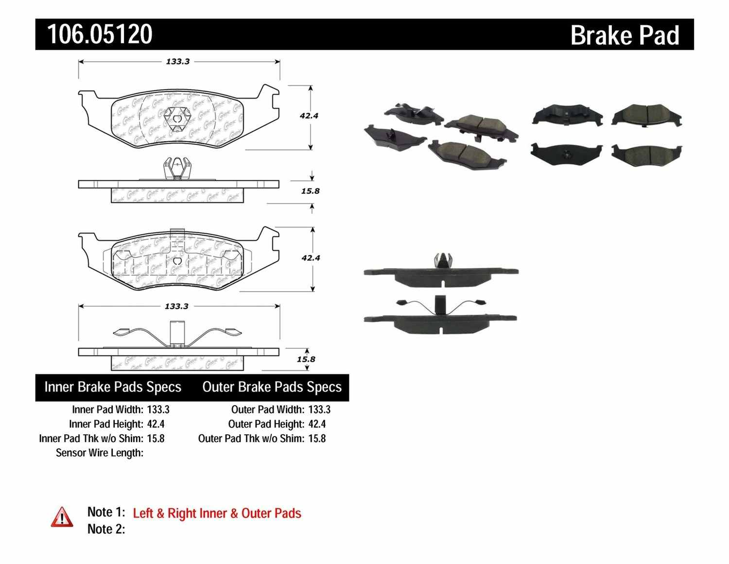 CENTRIC PARTS - Posi-Quiet Extended Wear Disc Brake Pad w/Shims & Hardware (Rear) - CEC 106.05120