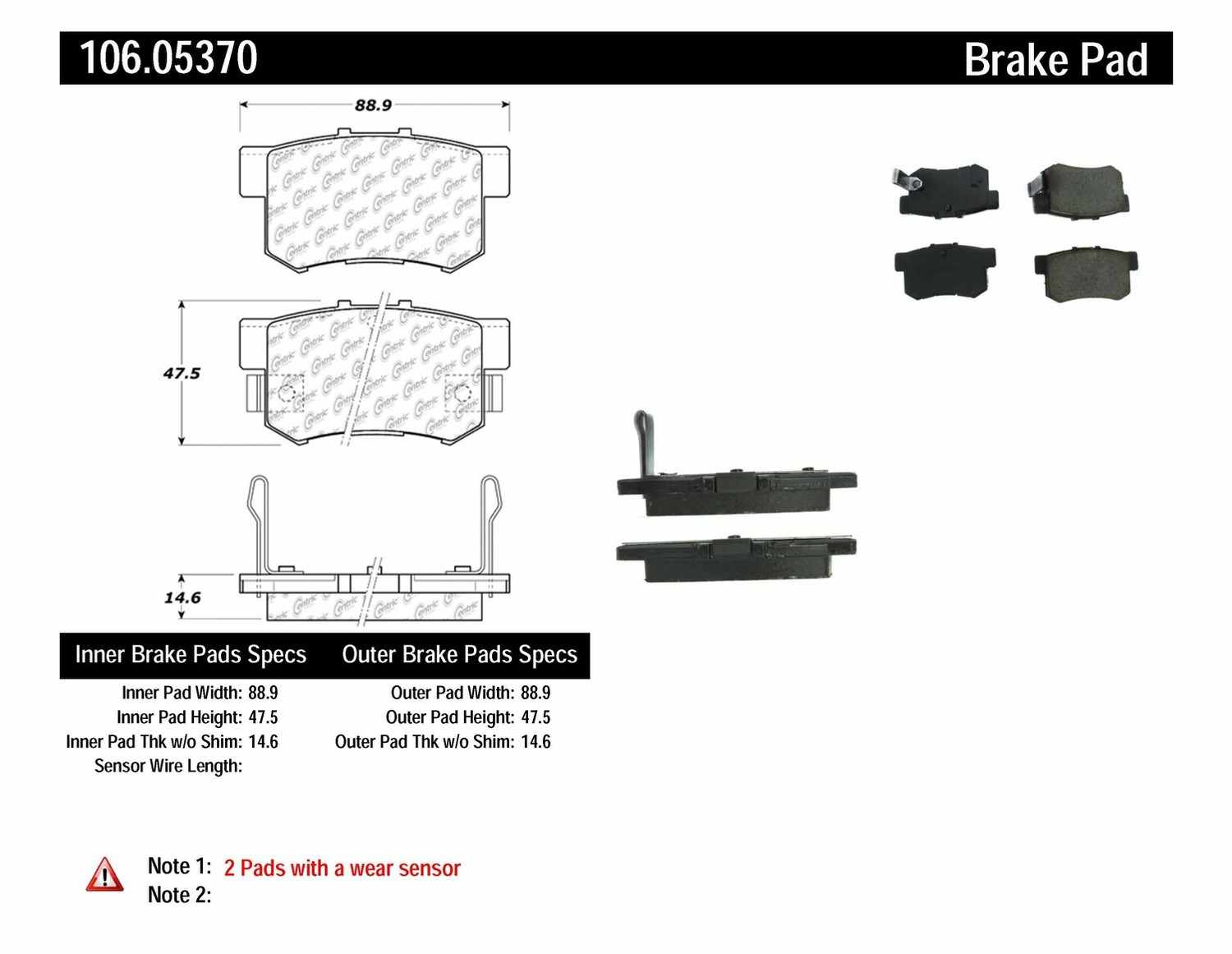 CENTRIC PARTS - Posi-Quiet Extended Wear Disc Brake Pad w/Shims & Hardware (Rear) - CEC 106.05370