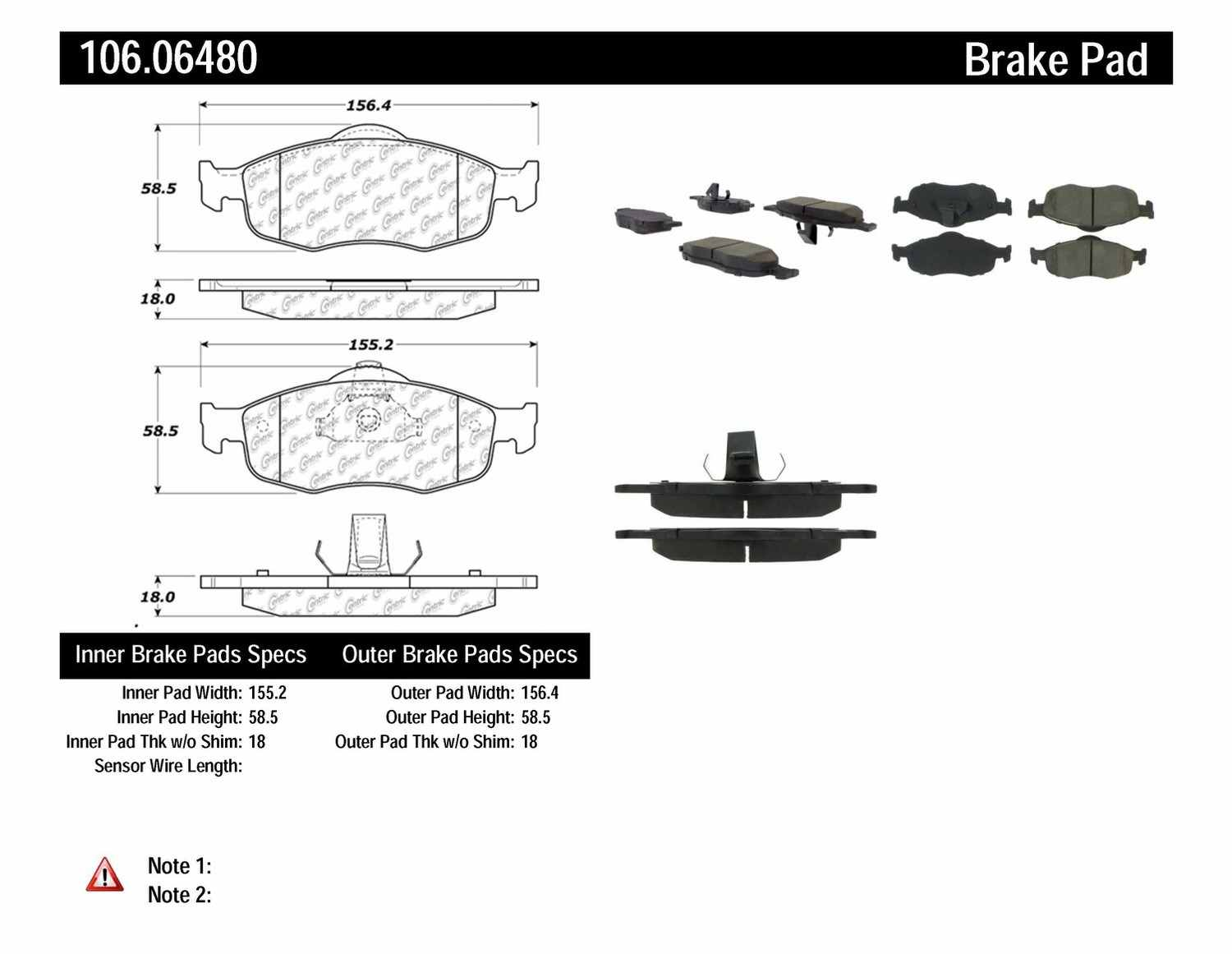 CENTRIC PARTS - Posi-Quiet Extended Wear Disc Brake Pad w/Shims & Hardware (Front) - CEC 106.06480