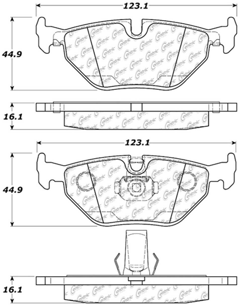 CENTRIC PARTS - Posi-Quiet Extended Wear Disc Brake Pad w/Shims & Hardware (Rear) - CEC 106.06921
