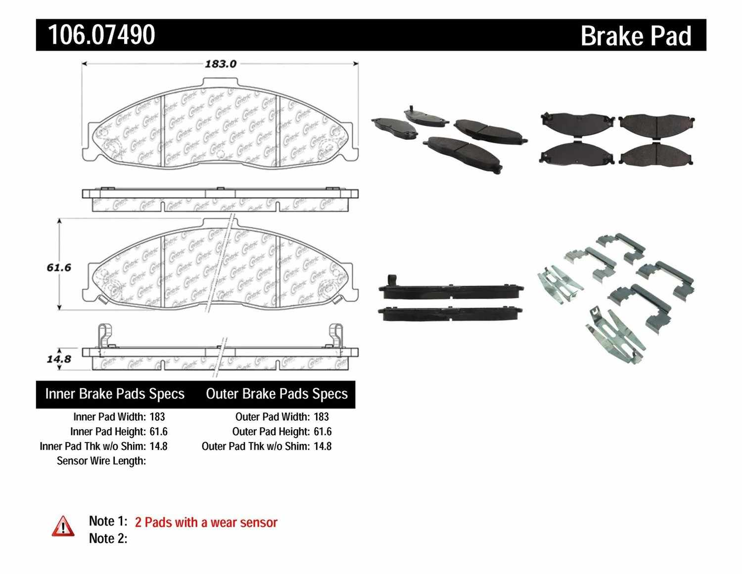CENTRIC PARTS - Posi-Quiet Extended Wear Disc Brake Pad w/Shims & Hardware-Preferred (Front) - CEC 106.07490
