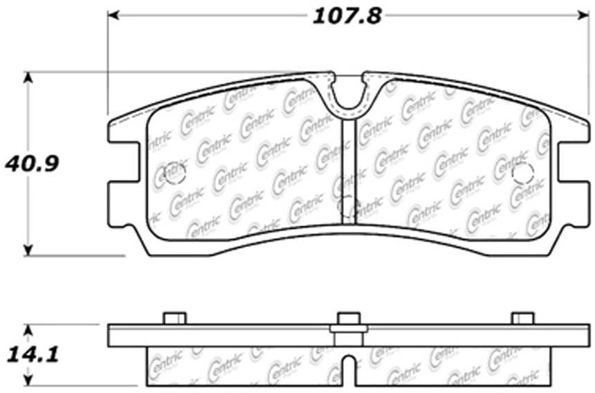 CENTRIC PARTS - Posi-Quiet Extended Wear Disc Brake Pad w/Shims & Hardware (Rear) - CEC 106.07540