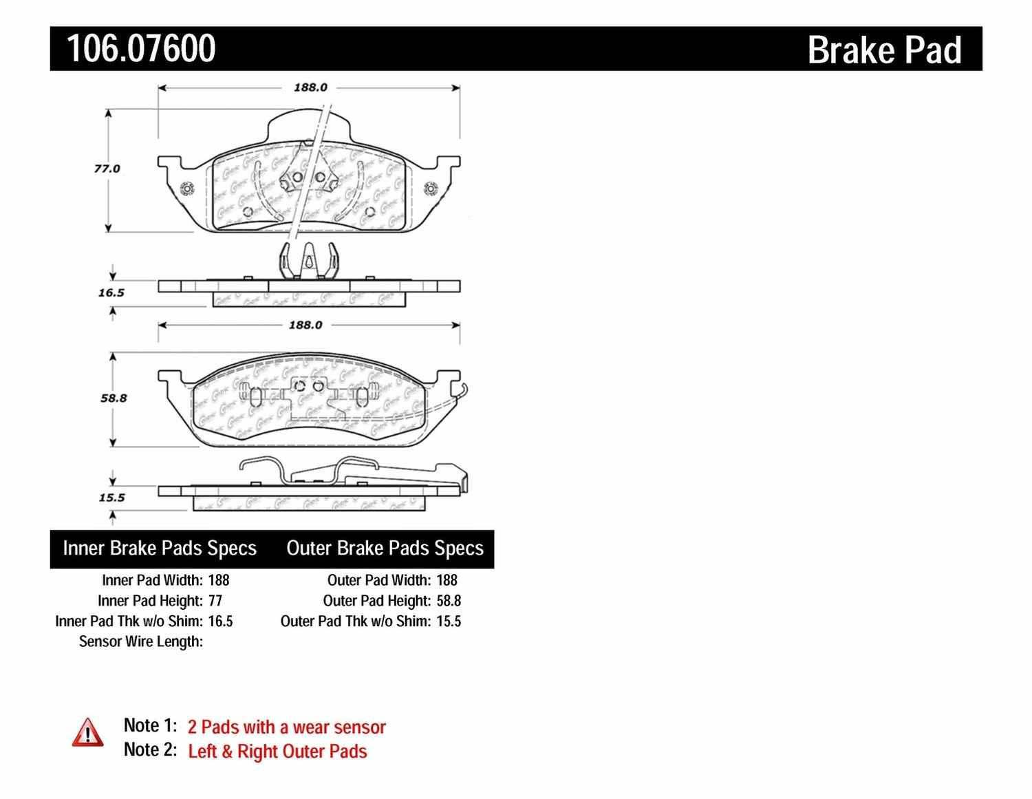 CENTRIC PARTS - Posi-Quiet Extended Wear Disc Brake Pad w/Shims & Hardware (Front) - CEC 106.07600
