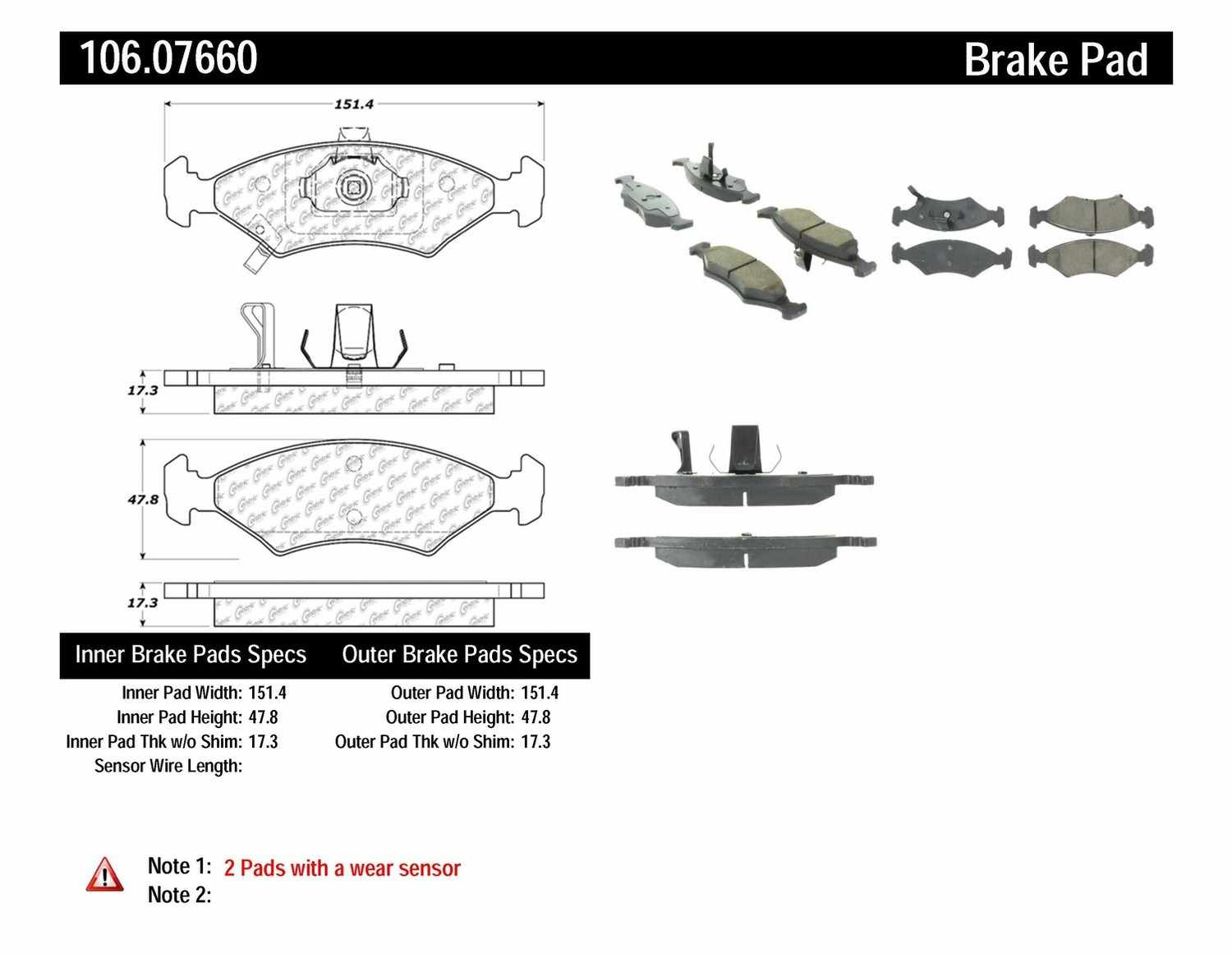 CENTRIC PARTS - Posi-Quiet Extended Wear Disc Brake Pad w/Shims & Hardware (Front) - CEC 106.07660