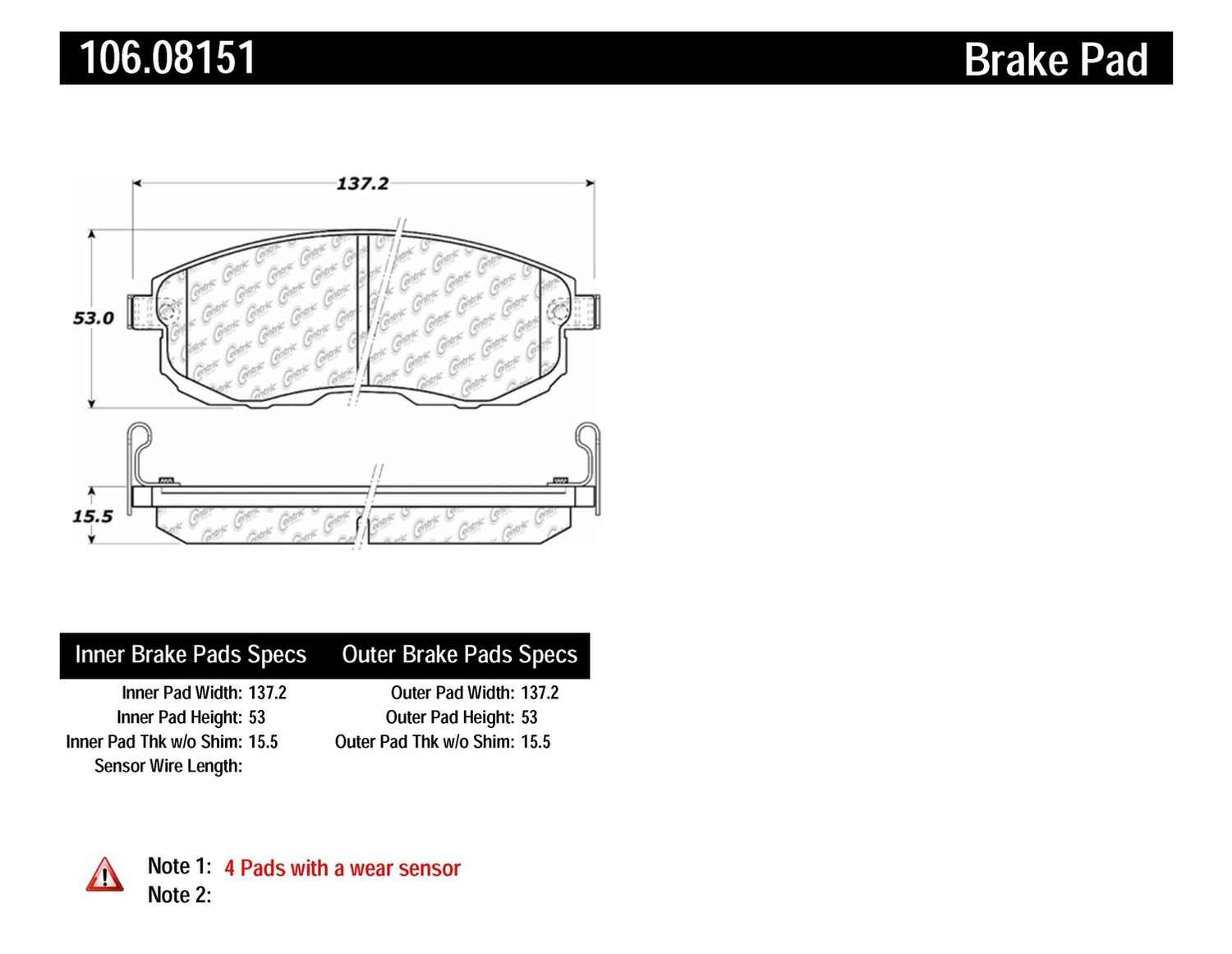 CENTRIC PARTS - Posi-Quiet Extended Wear Disc Brake Pad w/Shims & Hardware (Front) - CEC 106.08151