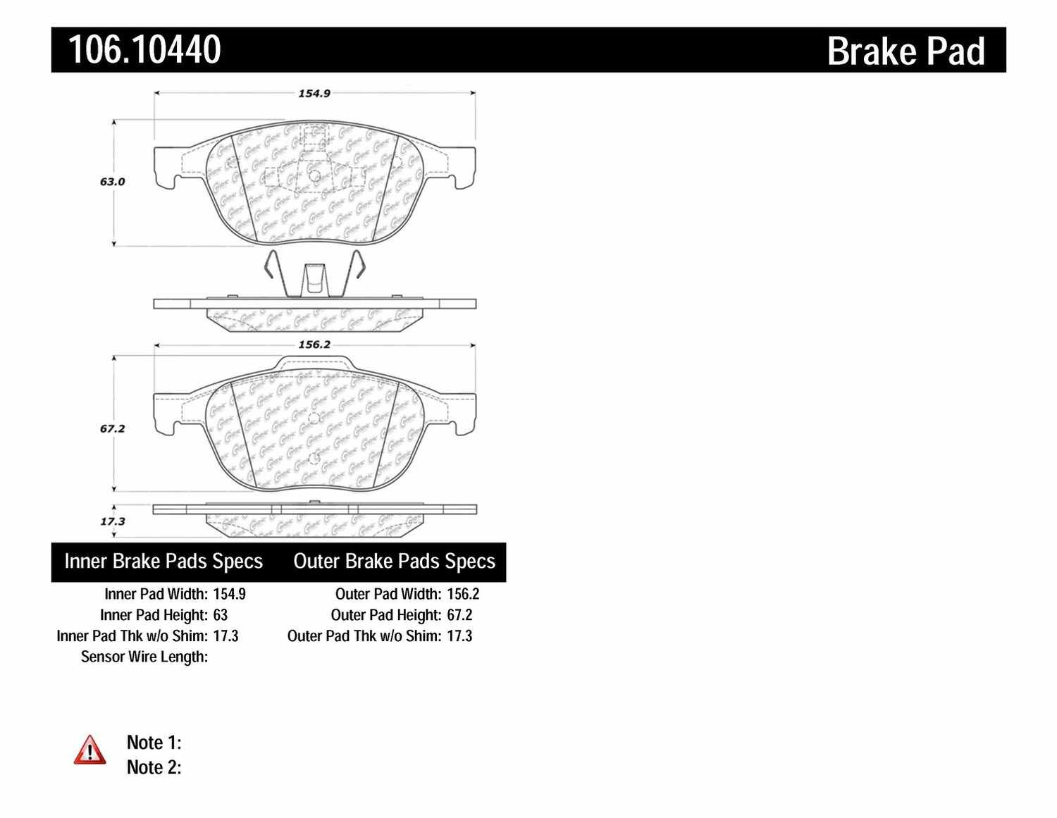 CENTRIC PARTS - Posi-Quiet Extended Wear Disc Brake Pad w/Shims & Hrdwr (Front) - CEC 106.10440