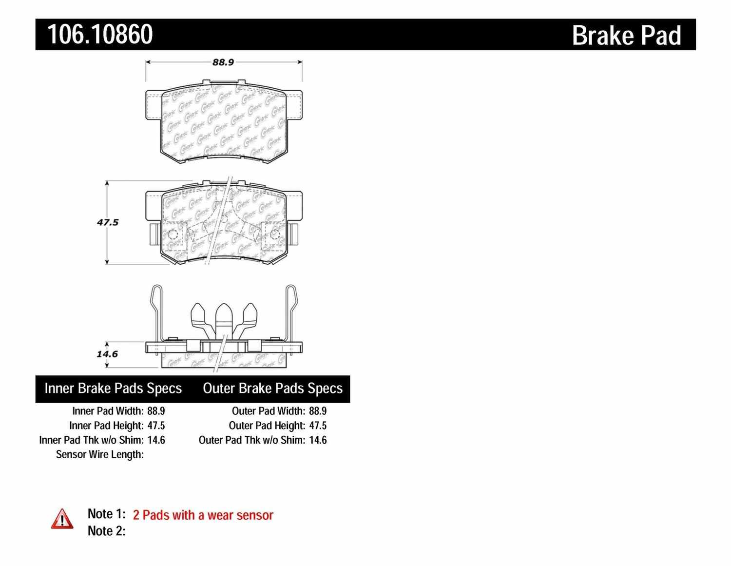 CENTRIC PARTS - Posi-Quiet Extended Wear Disc Brake Pad w/Shims & Hardware (Rear) - CEC 106.10860