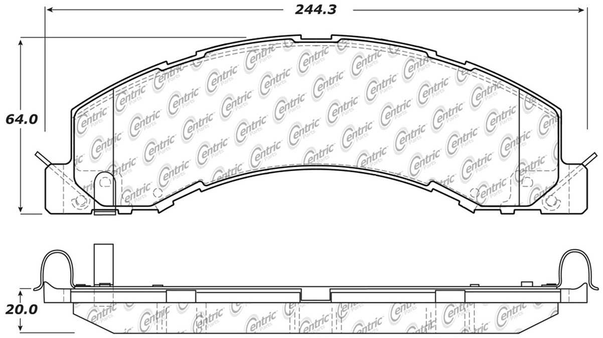 CENTRIC PARTS - Posi-Quiet Extended Wear Disc Brake Pad w/Shims & Hardware-Preferred - CEC 106.13350