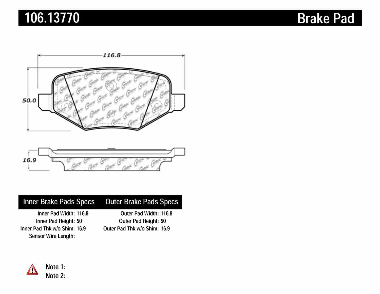 CENTRIC PARTS - Posi-Quiet Extended Wear Disc Brake Pad w/Shims & Hardware (Rear) - CEC 106.13770