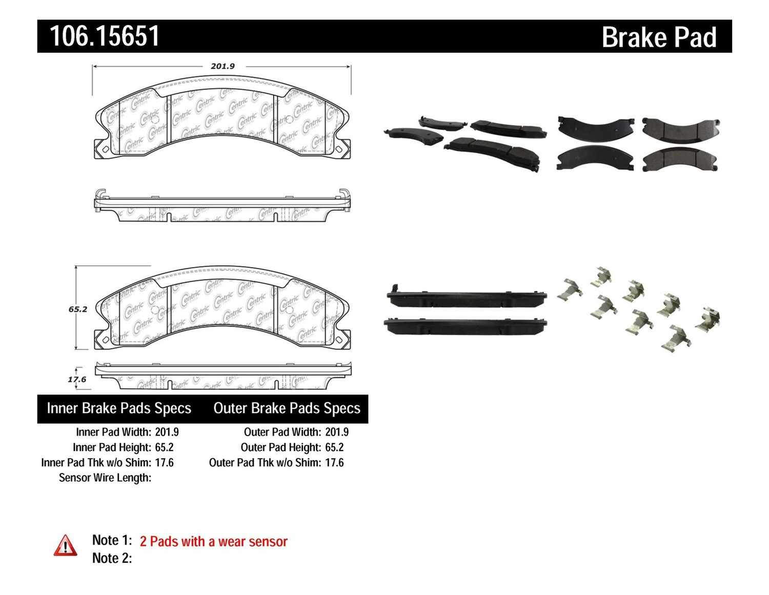 CENTRIC PARTS - Posi-Quiet Extended Wear Disc Brake Pad w/Shims & Hardware (Rear) - CEC 106.15651