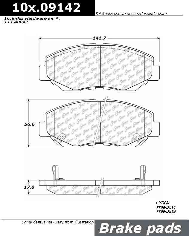 CENTRIC PARTS - Posi-Quiet Ceramic Brake Pad w/Shims & Hardware-Preferred - CEC 105.09142