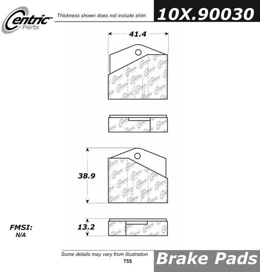 CENTRIC PARTS - Parking Brake Pad Set - CEC 102.90030