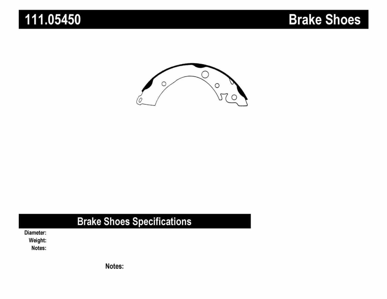 CENTRIC PARTS - Premium Brake Shoes-Preferred (Rear) - CEC 111.05450