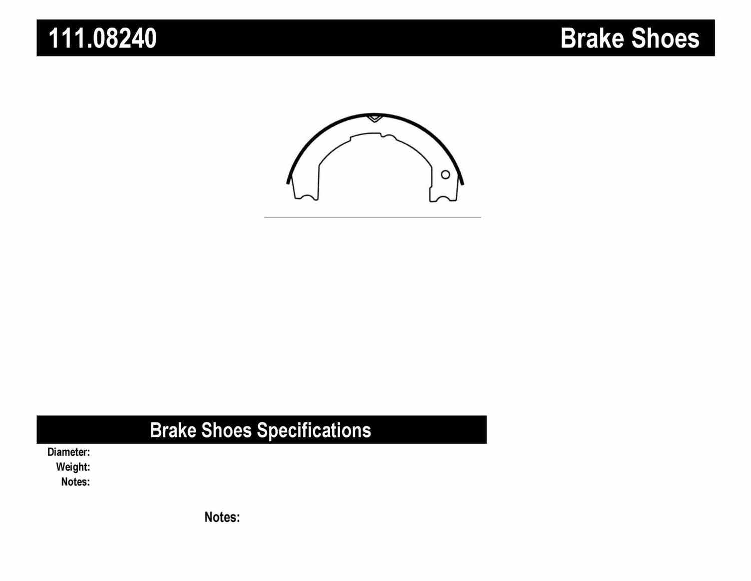 CENTRIC PARTS - Premium Brake Shoes-Preferred - CEC 111.08240