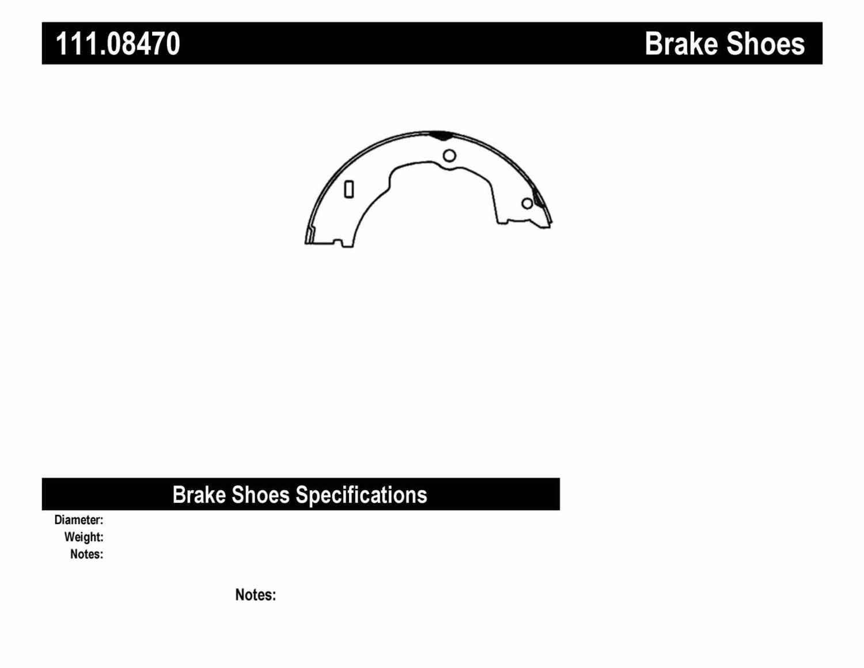 CENTRIC PARTS - Premium Brake Shoes-Preferred (Rear) - CEC 111.08470