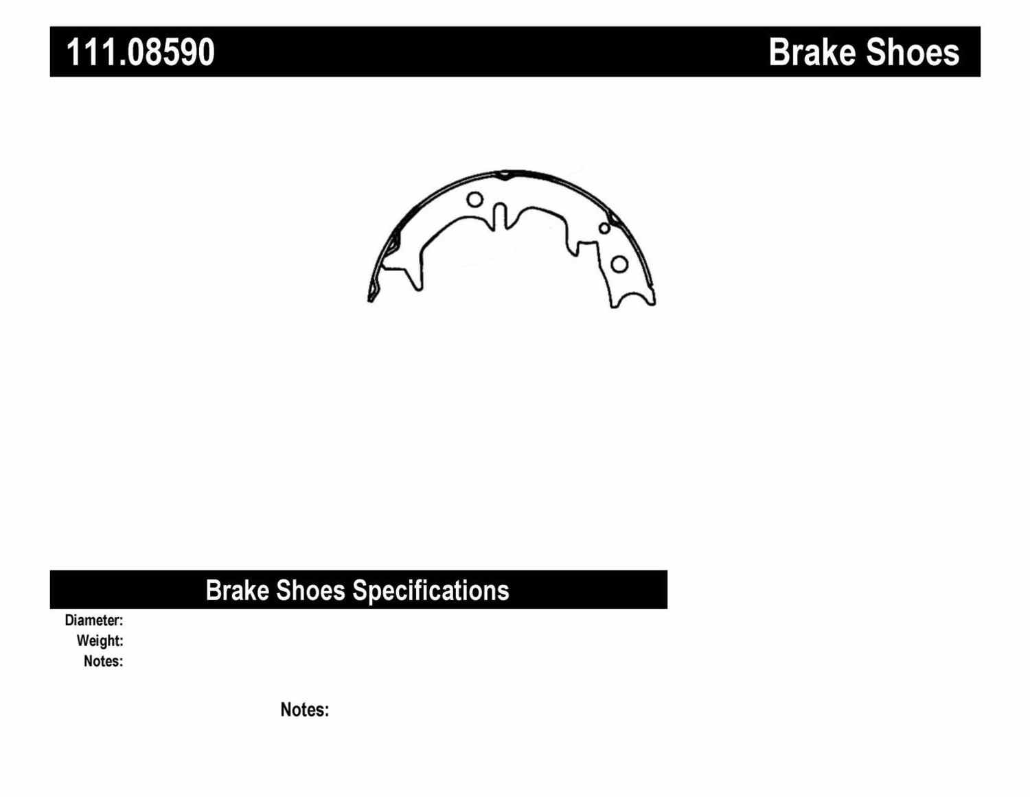 CENTRIC PARTS - Premium Brake Shoes-Preferred (Rear) - CEC 111.08590