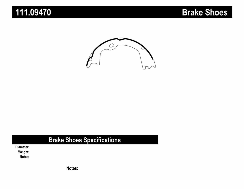 CENTRIC PARTS - Premium Brake Shoes-Preferred (Rear) - CEC 111.09470