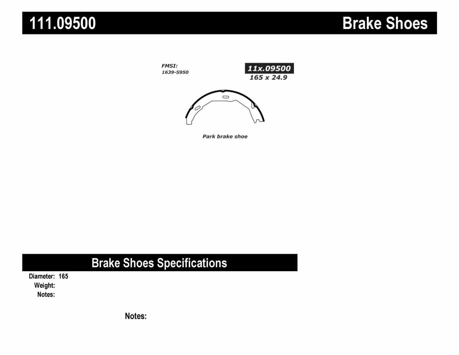 CENTRIC PARTS - Premium Brake Shoes-Preferred (Rear) - CEC 111.09500