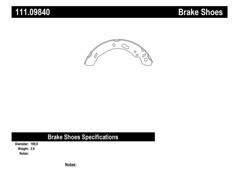 CENTRIC PARTS - Premium Brake Shoes-Preferred (Rear) - CEC 111.09840
