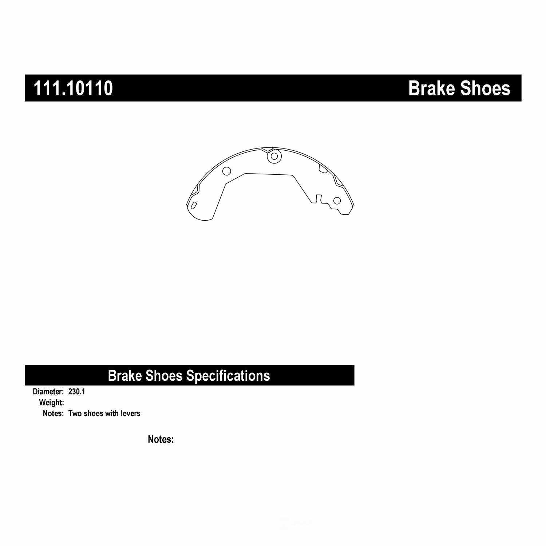 CENTRIC PARTS - Premium Brake Shoes-Preferred (Rear) - CEC 111.10110