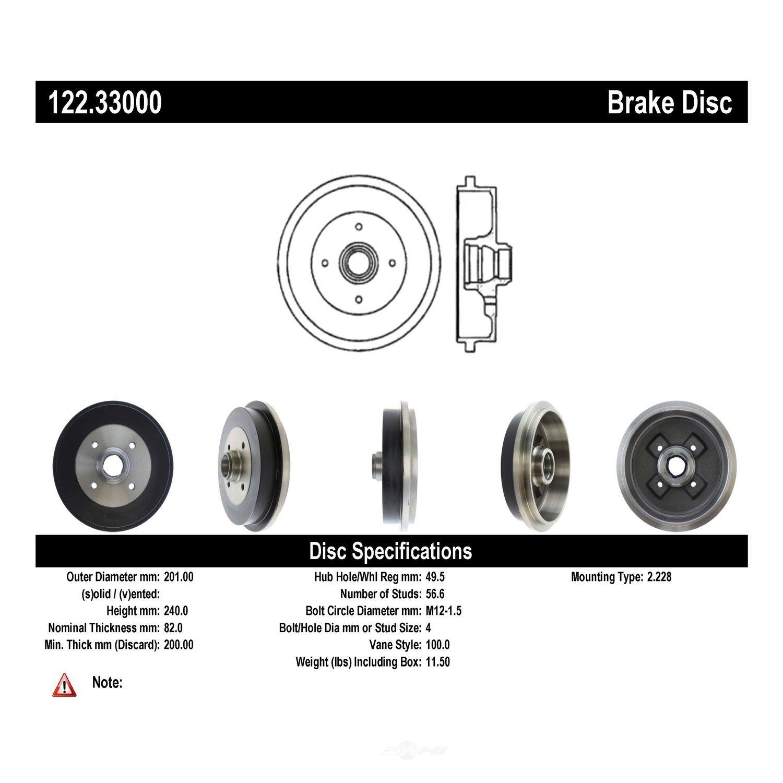 CENTRIC PARTS - Premium Drum - Preferred - CEC 122.33000