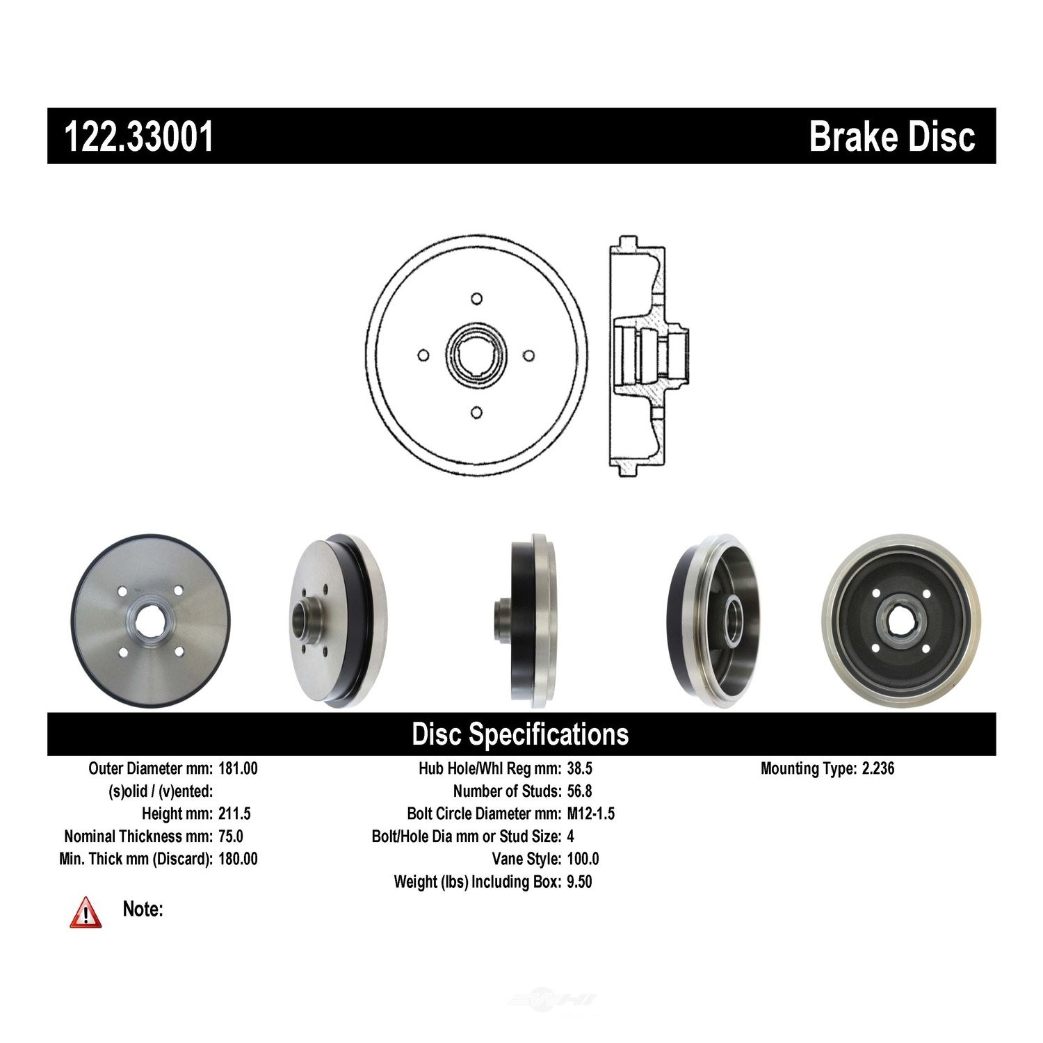 CENTRIC PARTS - Premium Drum - Preferred - CEC 122.33001