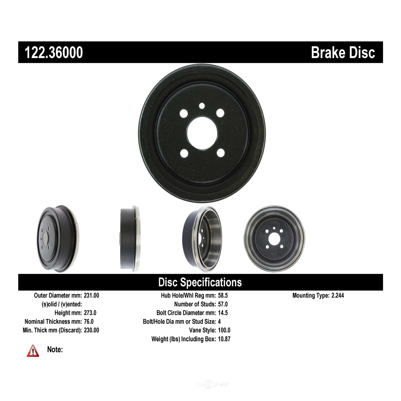 CENTRIC PARTS - Premium Drum - Preferred (Rear) - CEC 122.36000