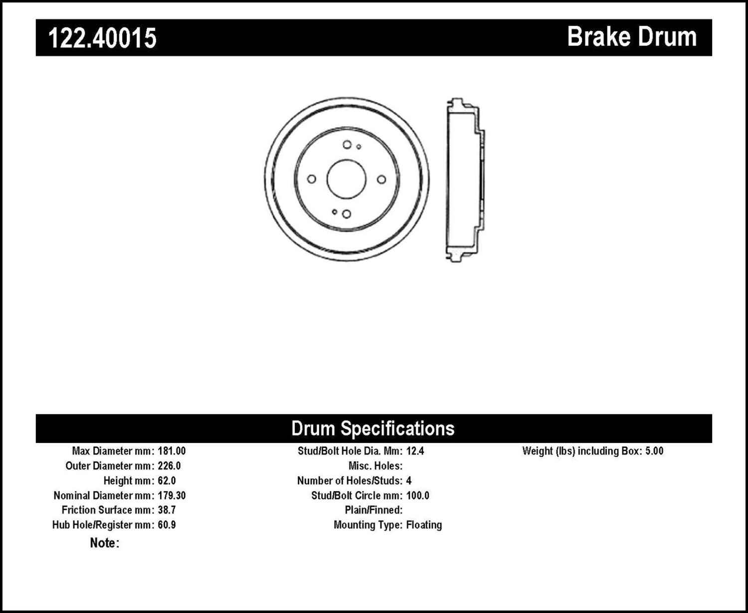 CENTRIC PARTS - Premium Drum - Preferred (Rear) - CEC 122.40015