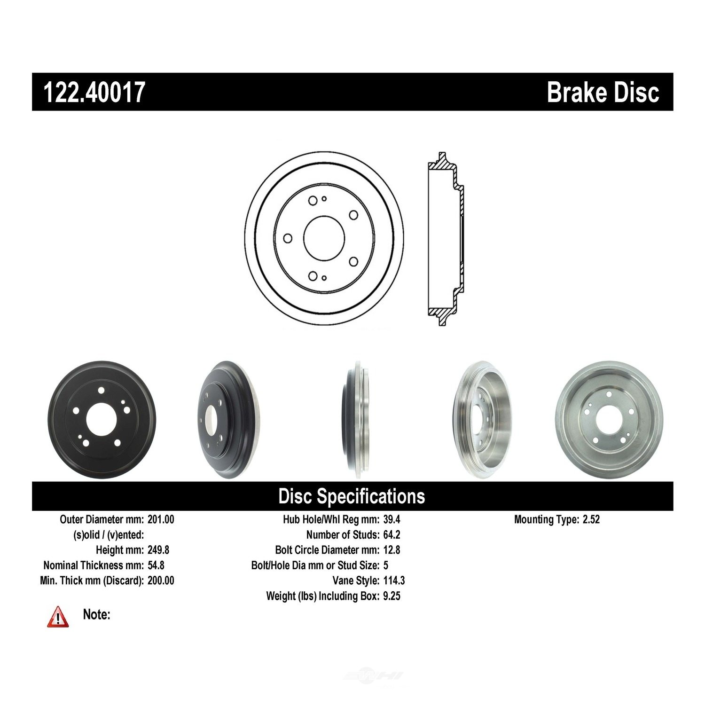 CENTRIC PARTS - Premium Drum - Preferred (Rear) - CEC 122.40017