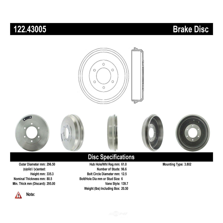 CENTRIC PARTS - Premium Drum - Preferred - CEC 122.43005