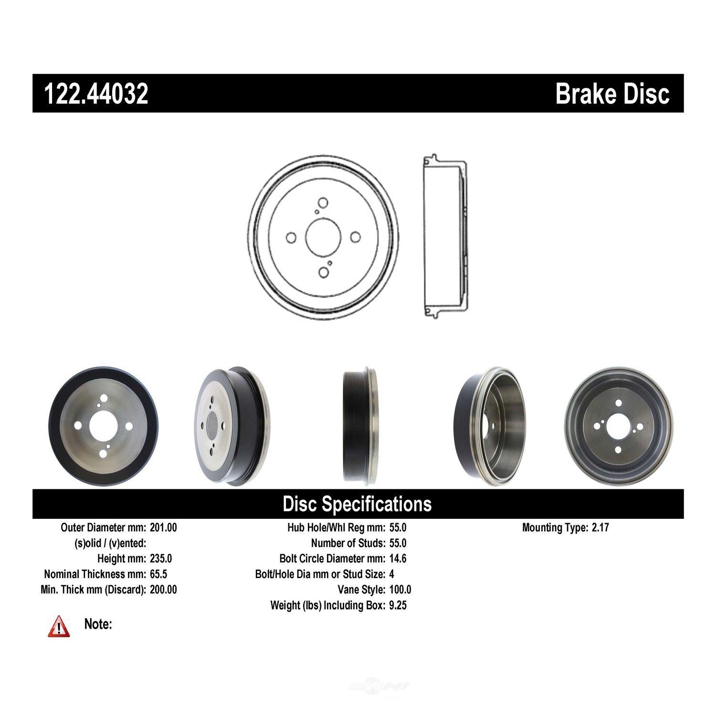 CENTRIC PARTS - Premium Drum - Preferred (Rear) - CEC 122.44032