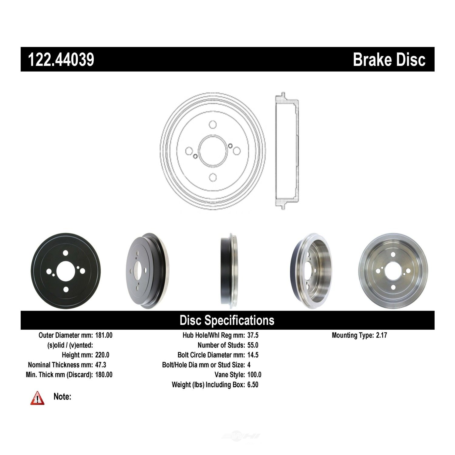 CENTRIC PARTS - Premium Drum - Preferred (Rear) - CEC 122.44039
